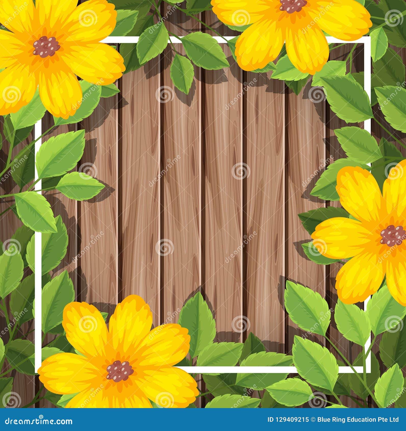 Fiore giallo sulla struttura di legno