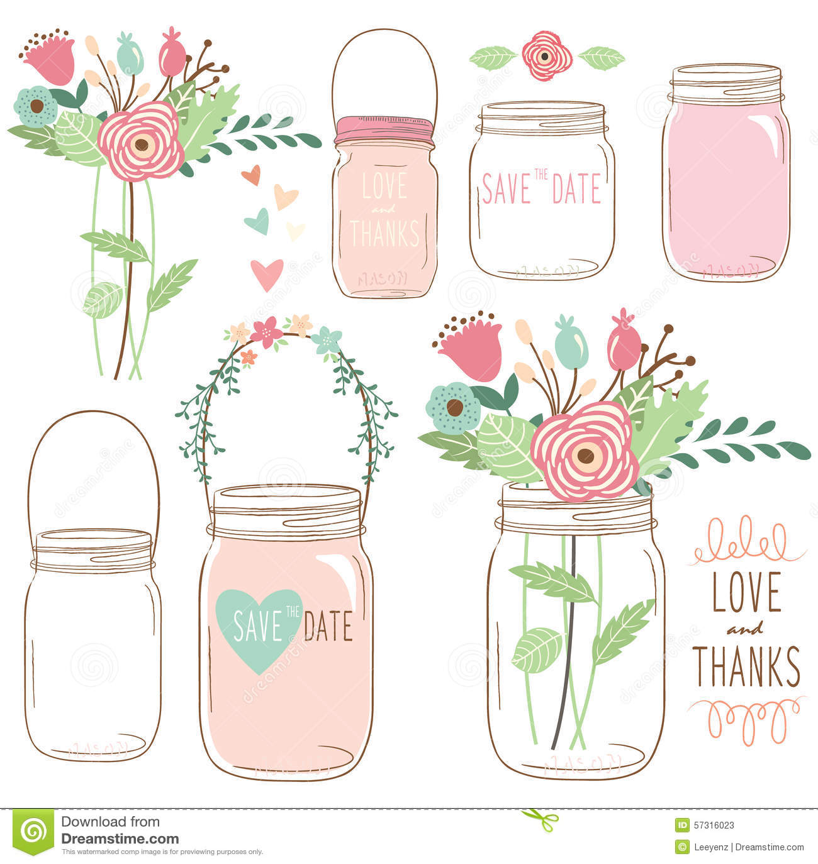 Fiore Mason Jar di nozze di tiraggio della mano