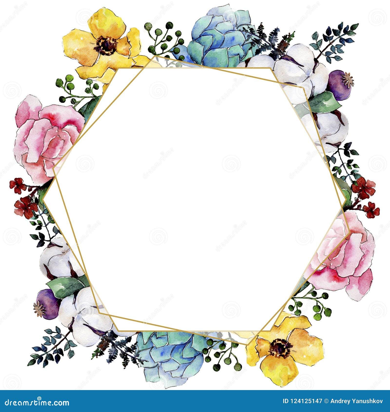 Fiore variopinto del mazzo dell acquerello Fiore botanico floreale Quadrato dell ornamento del confine della pagina