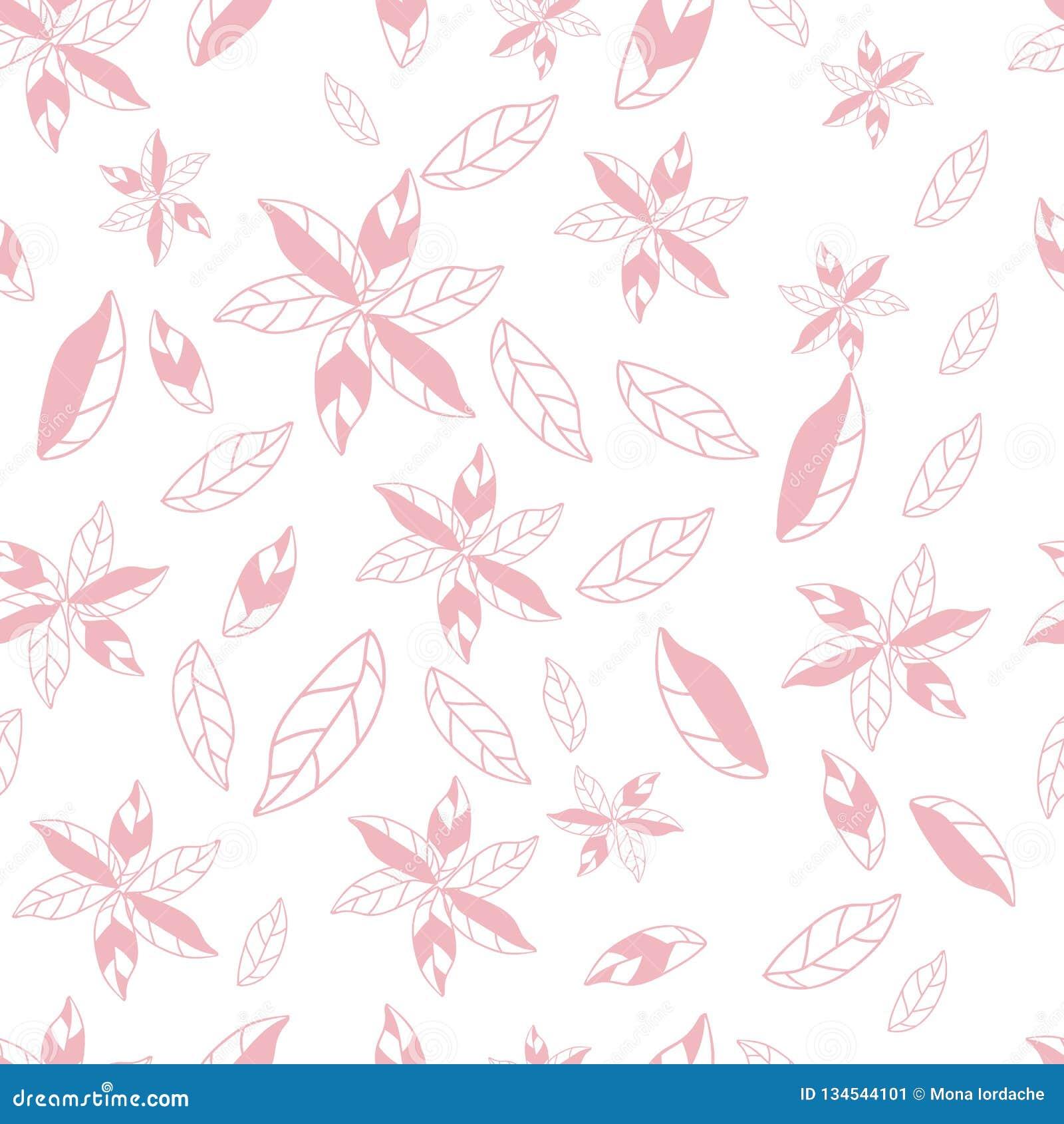 Fiori astratti disegnati a mano di rosa sul modello senza cuciture del fondo bianco