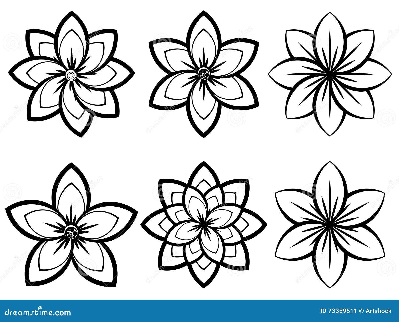 Fiori in bianco e nero semplici illustrazione vettoriale for Fiori da disegnare facili