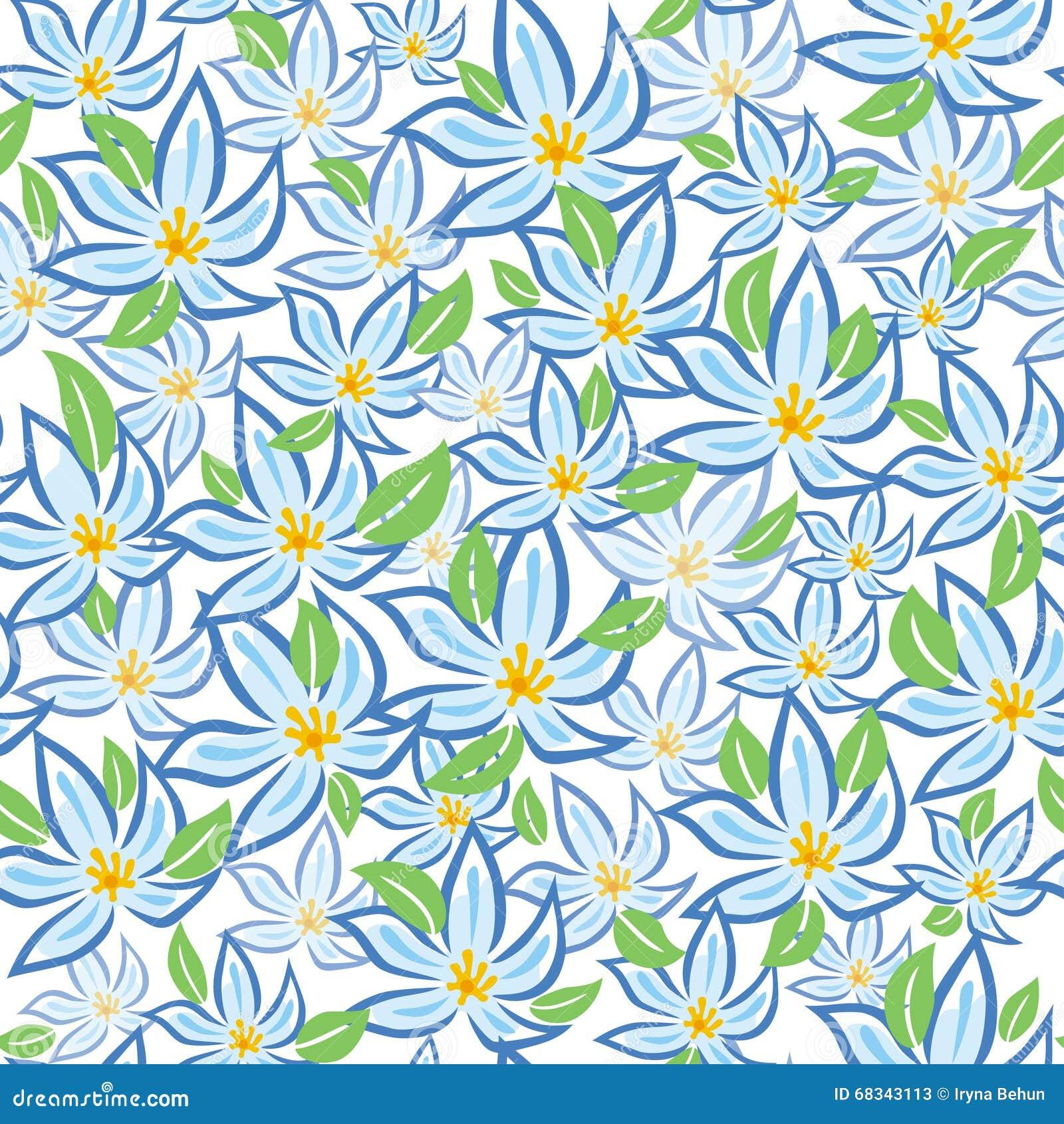 Fiori blu con le foglie verdi ornamento delle piante for Albero con fiori blu