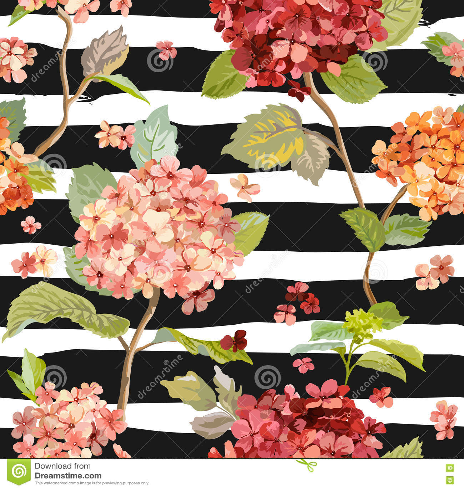 Fiori d annata - Hortensia Background floreale - modello senza cuciture
