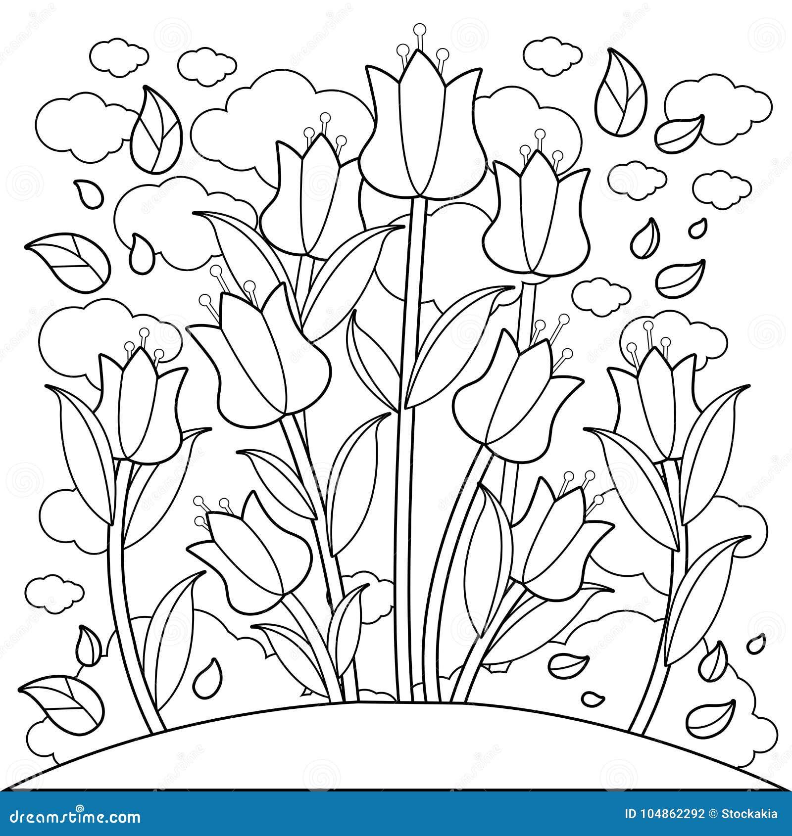 Fiori Del Tulipano Pagina Del Libro Da Colorare Illustrazione