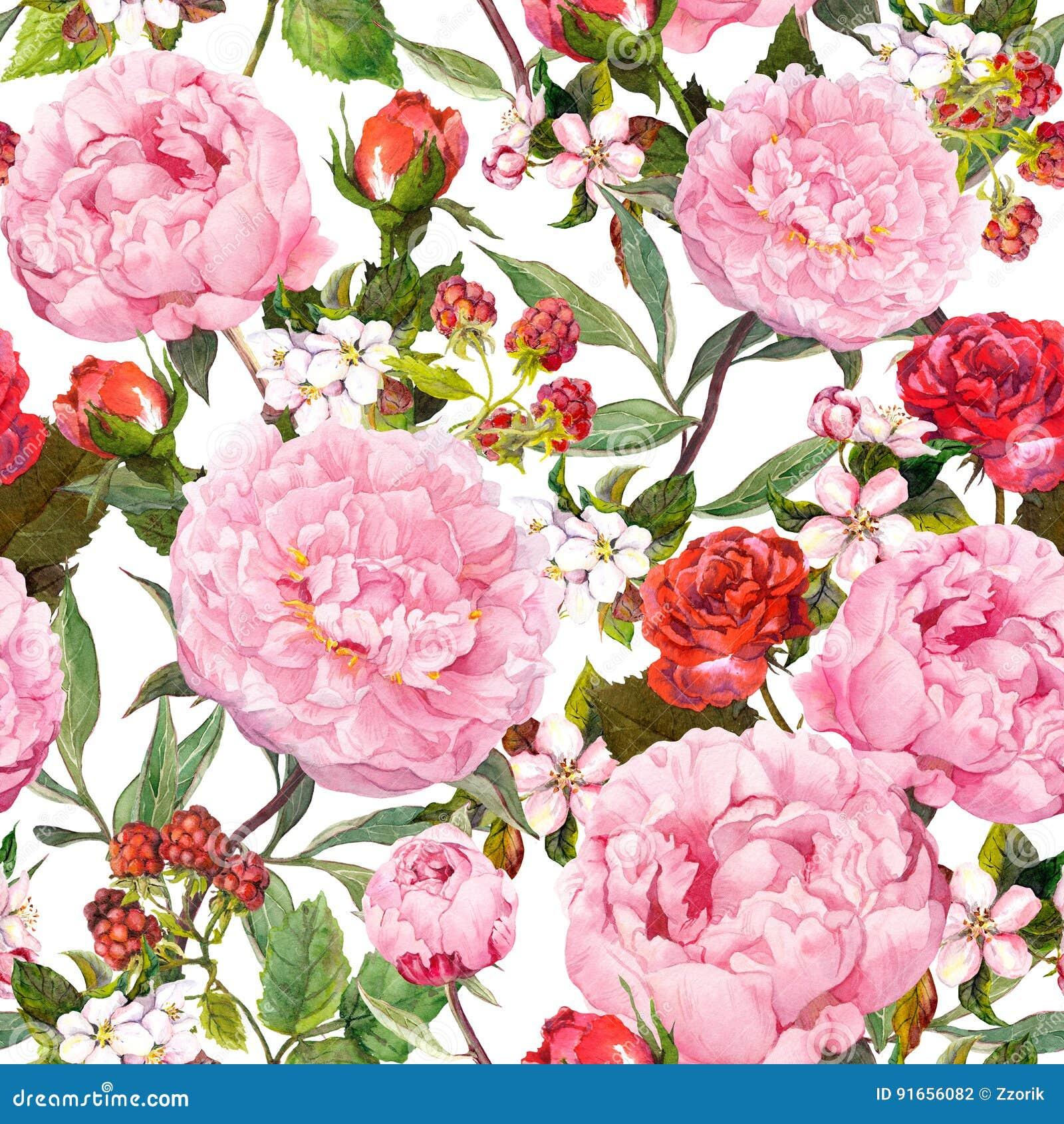 Fiori della peonia, rose rosse, sakura Priorità bassa floreale senza giunte watercolor