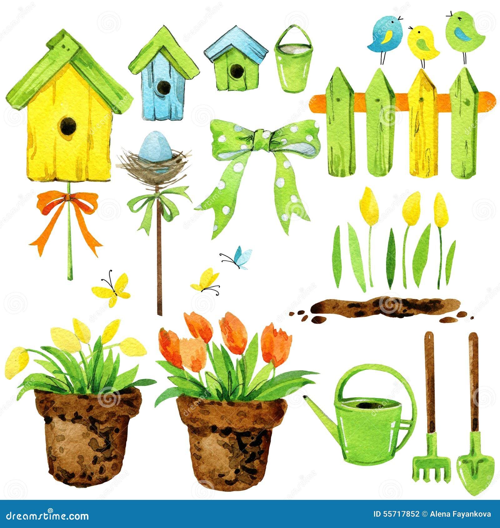 Fiori della primavera decorazione del giardino casa dell - Primavera uccelli primavera colorazione pagine ...