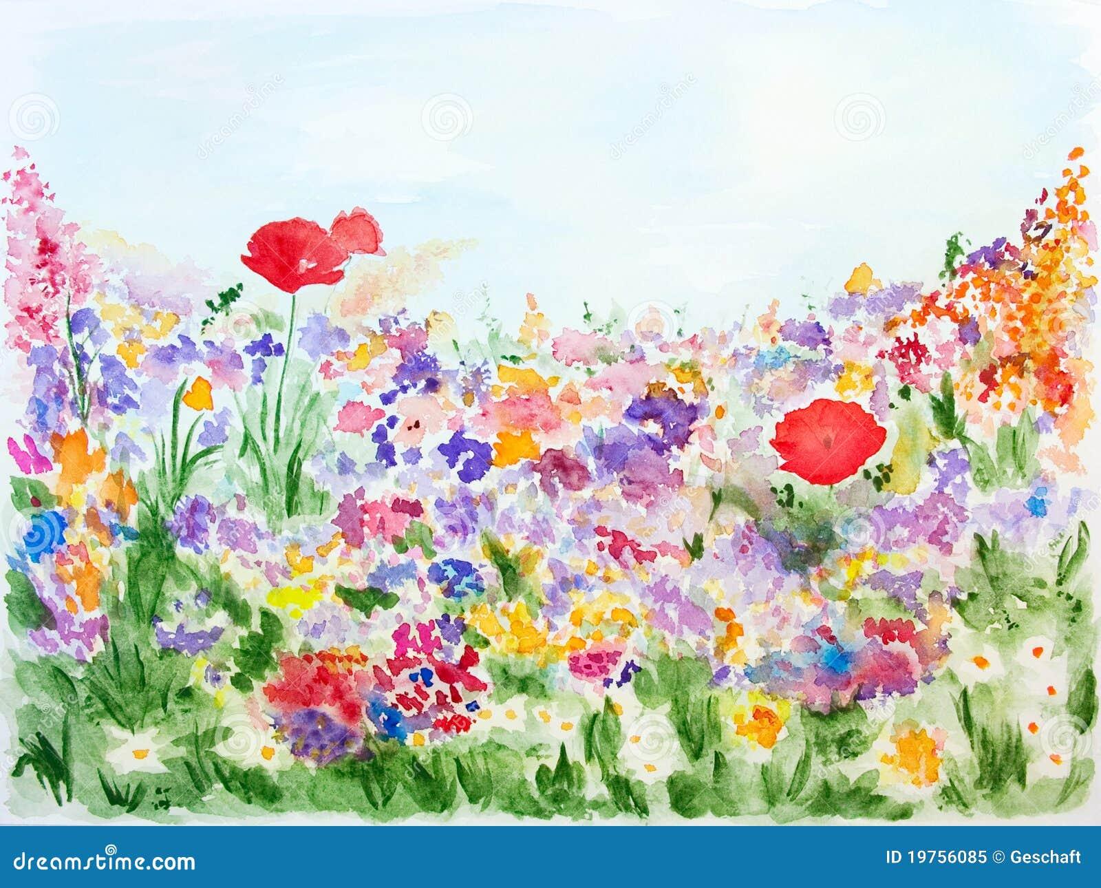 Fiori di estate nell 39 acquerello del giardino dipinto a - Fiori da giardino primavera estate ...