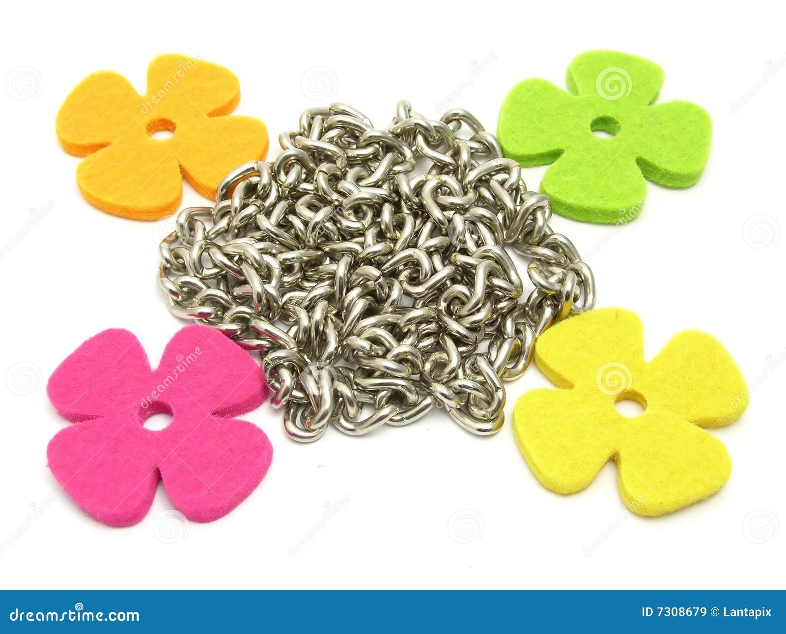 Fiori di feltro che fraiming una catena