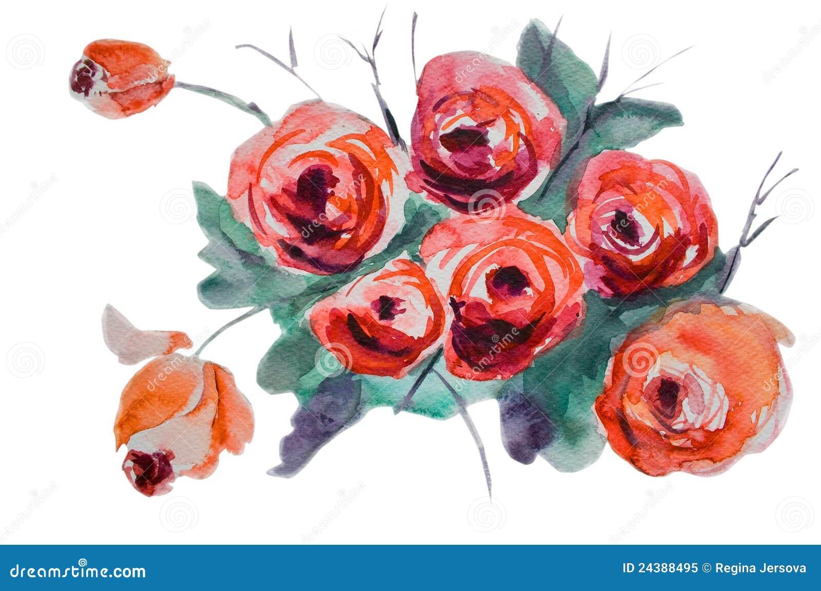 Fiori di rosa stilizzati illustrazione di stock for Fiori stilizzati immagini