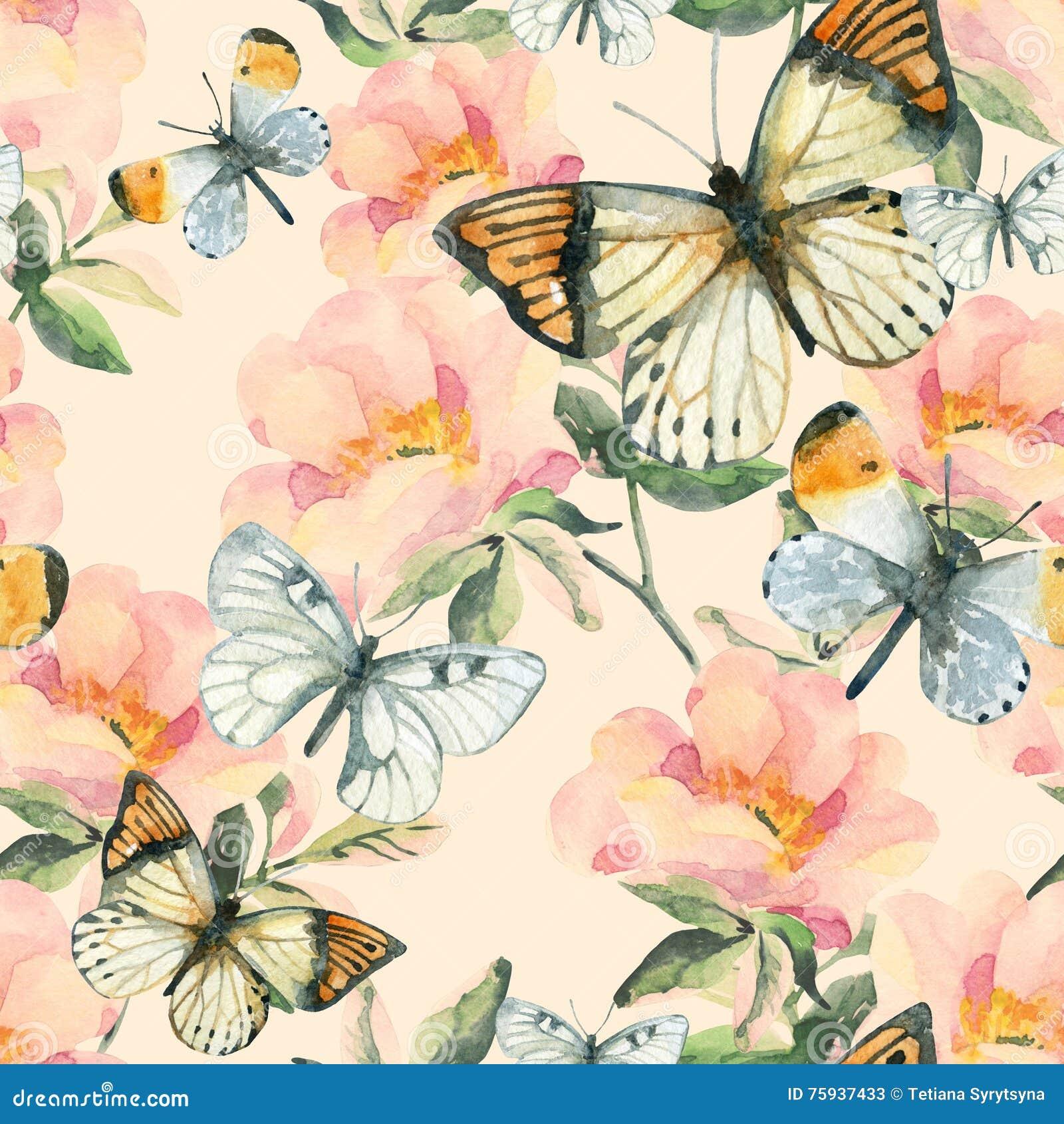 Fiori di rovo dell acquerello e modello senza cuciture della farfalla Rami della rosa canina nello stile d annata