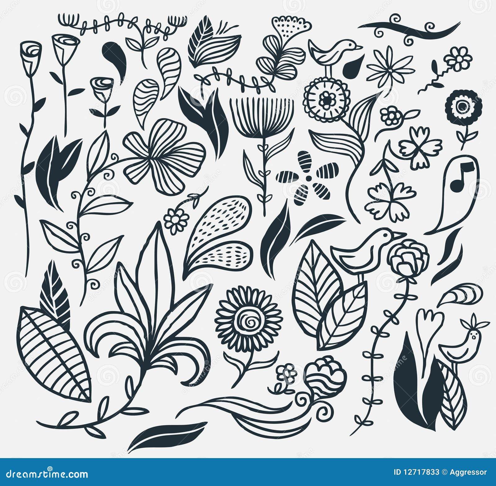 Fiori disegnati a mano fotografie stock immagine 12717833 for Fiori disegnati