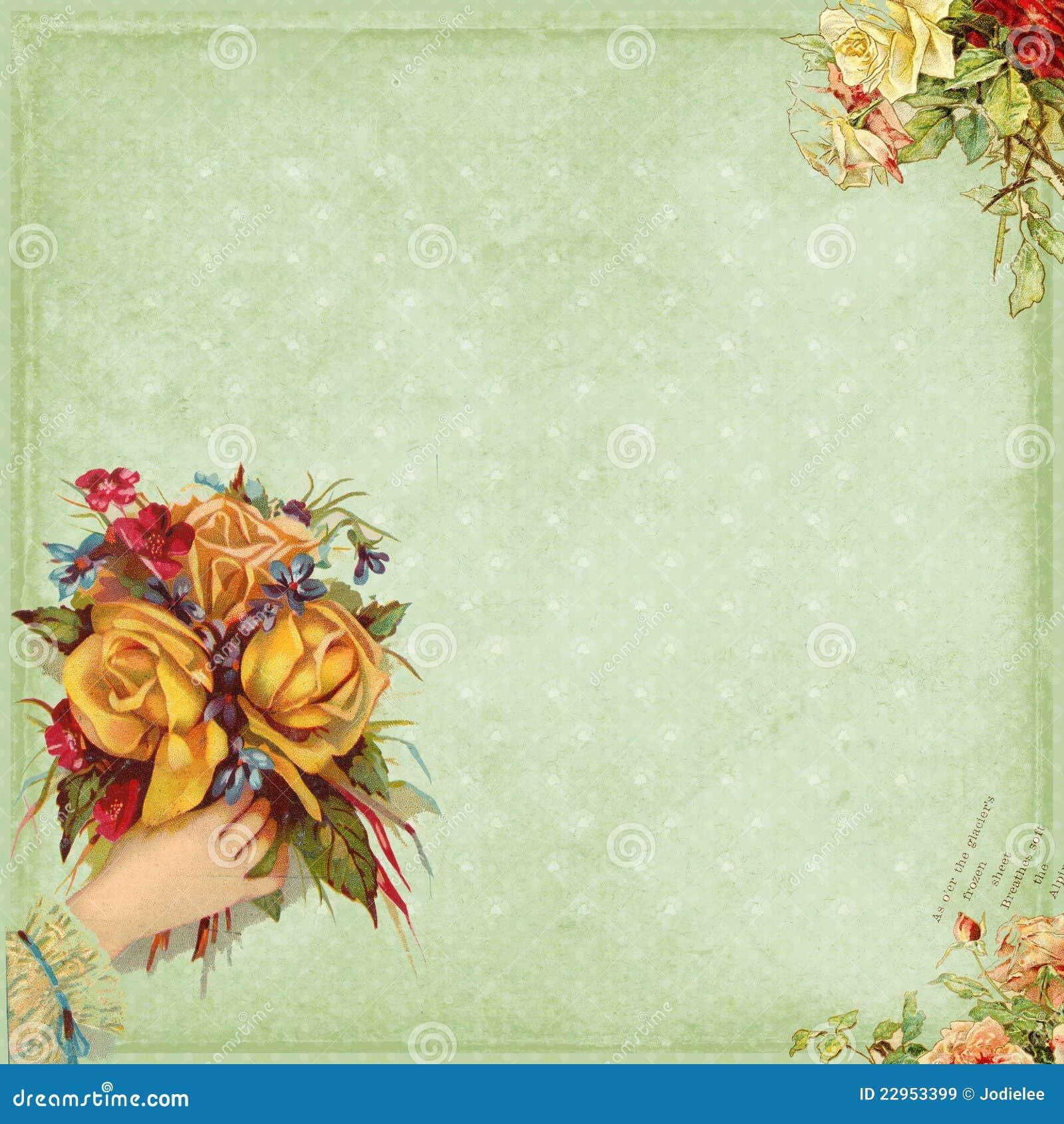 Fiori dolci della holding della mano del blocco per grafici di stile del Victorian