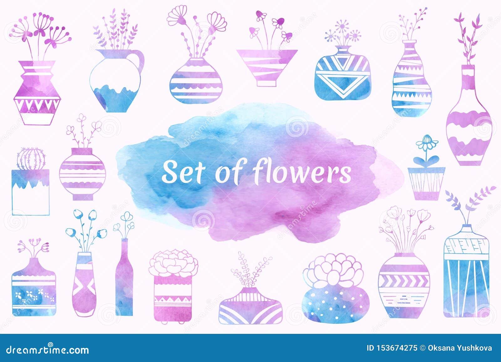 Fiori domestici in vasi e vasi da fiori dipinti in acquerello
