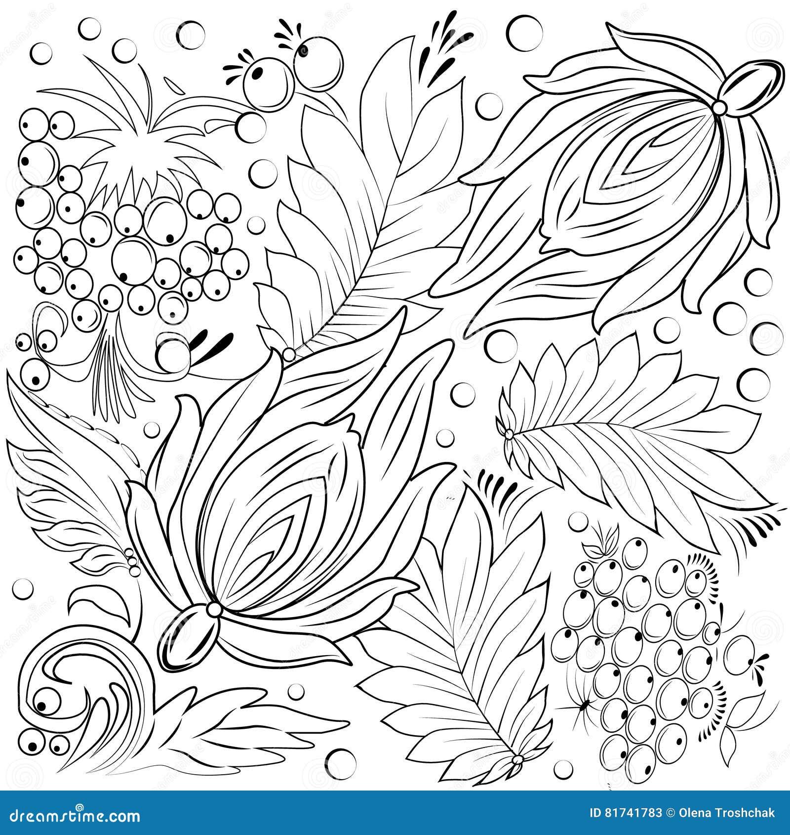 Fiori E Foglie Per Il Libro Da Colorare Illustrazione Vettoriale