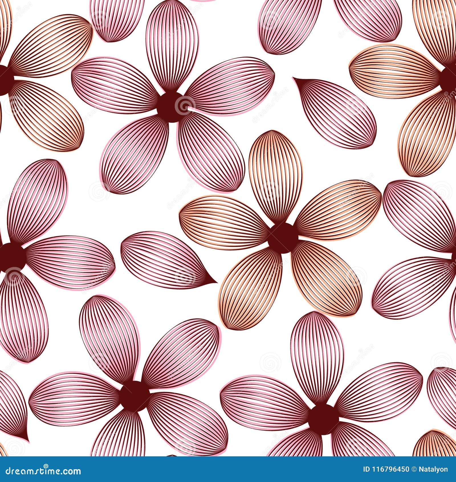 Fiori e petali rosa eleganti con le vene modello senza cuciture, vettore