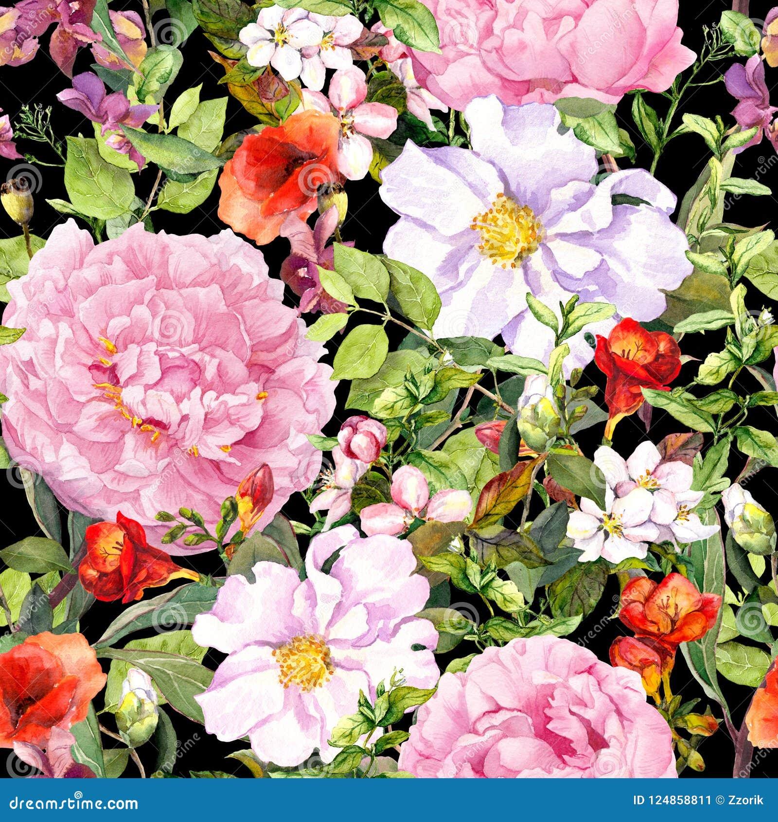 Fiori, foglie, fienarola dei prati al fondo del nero di contrasto Reticolo floreale senza giunte watercolor