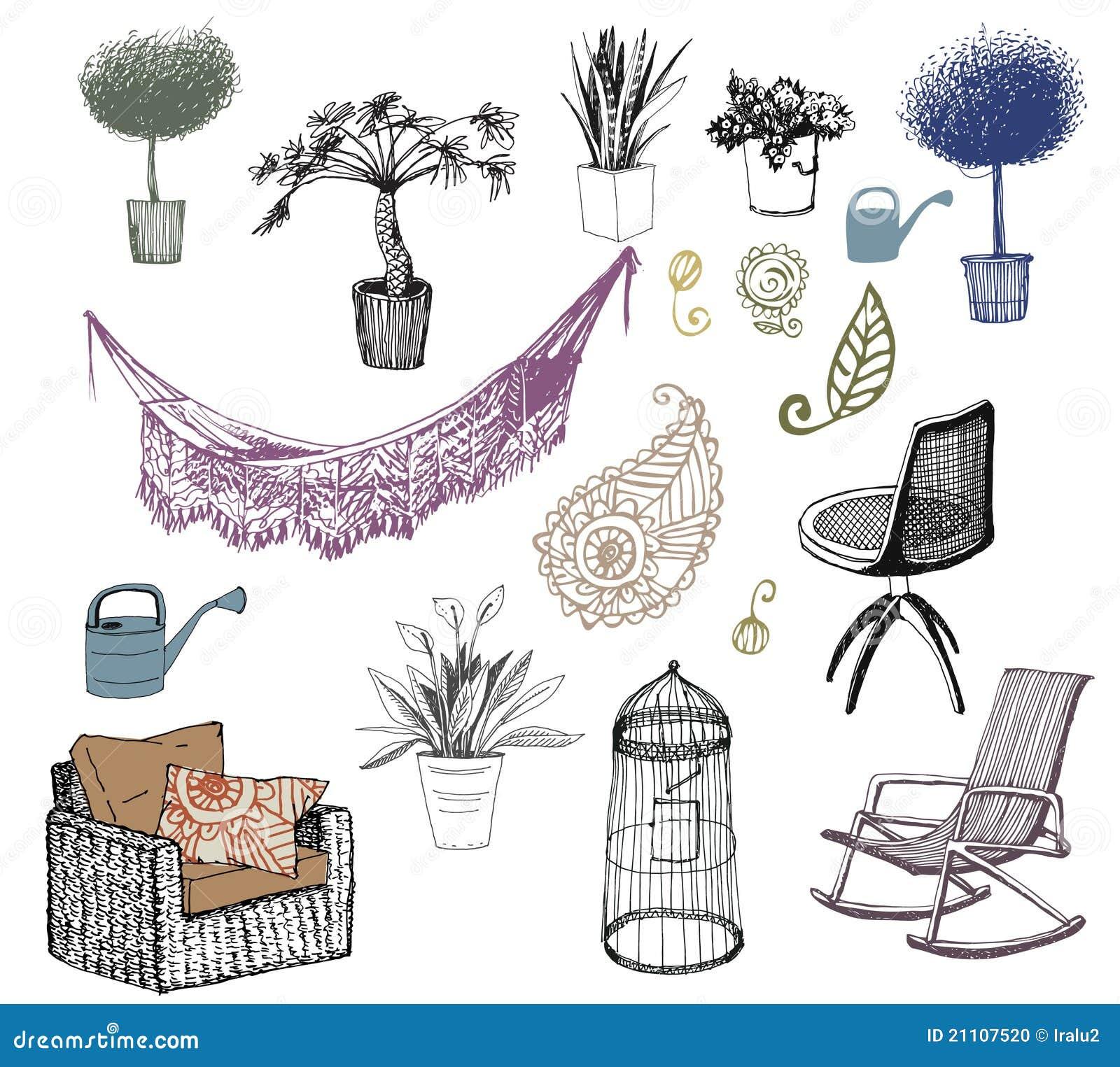 Fiori mobilia elementi interni illustrazione vettoriale for Mobilia download