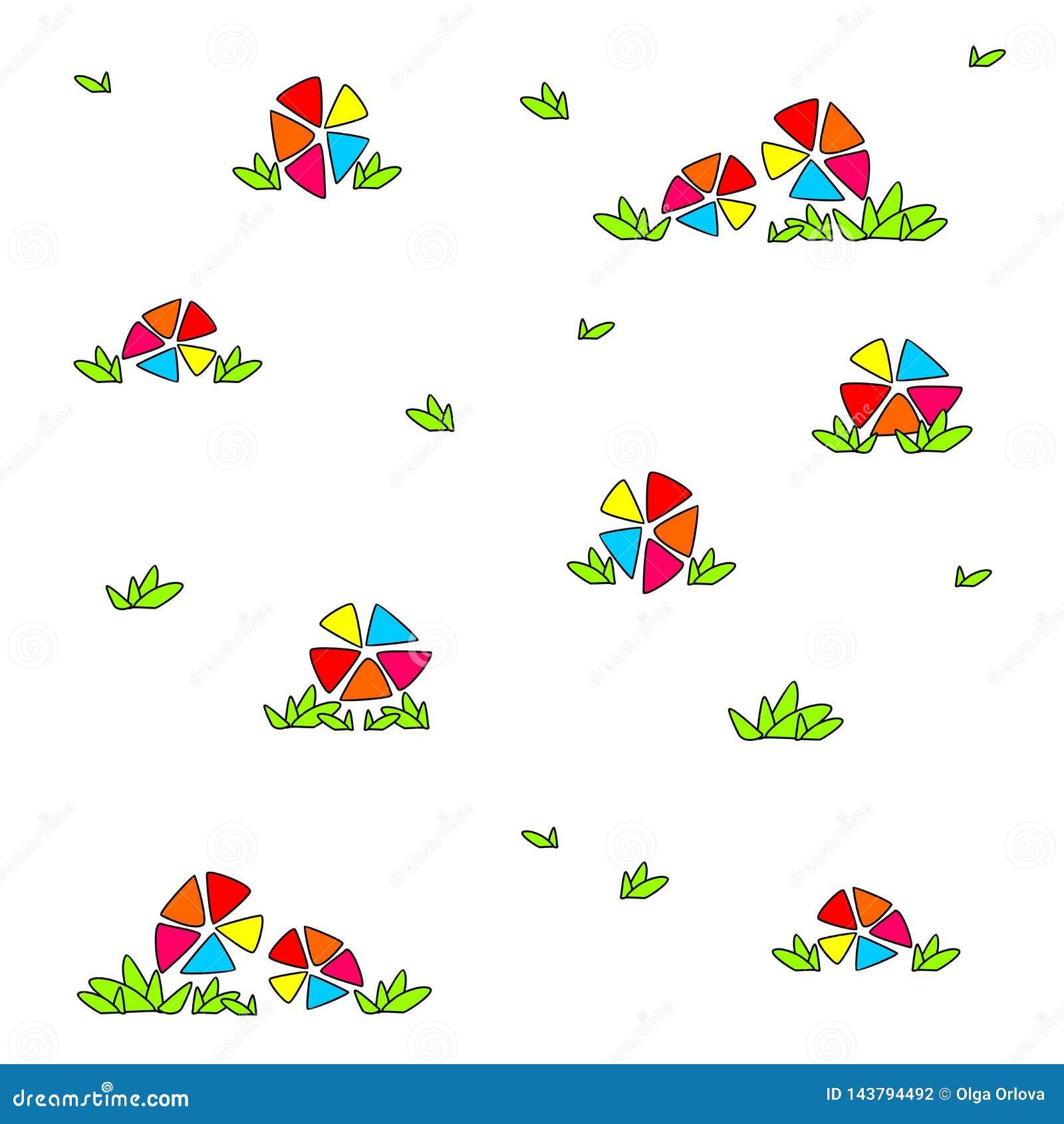 Fiori multicolori luminosi Il disegno divertente dei bambini
