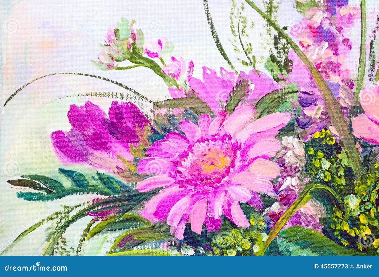 fiori pittura a olio illustrazione di stock