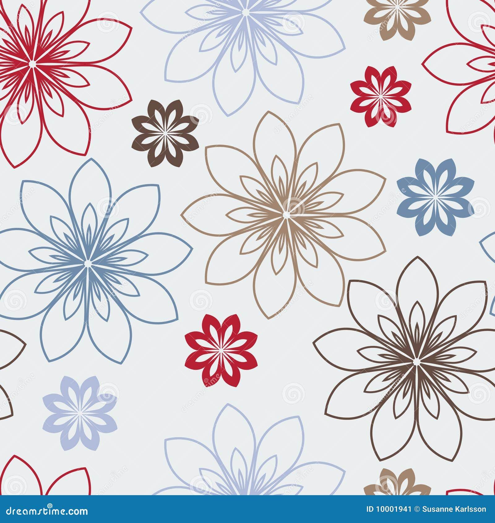 Fiori rossi blu e marroni stilizzati illustrazione for Fiori stilizzati immagini