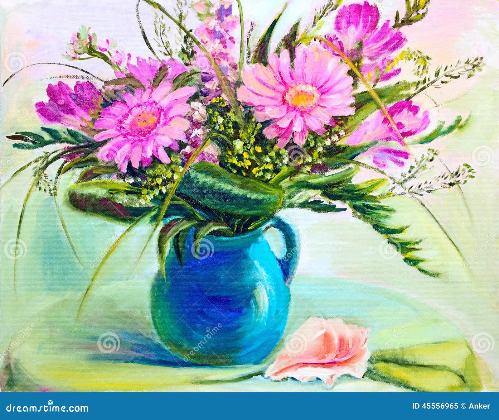 Très Fiori In Vaso, Pittura A Olio Illustrazione di Stock - Immagine  XC67