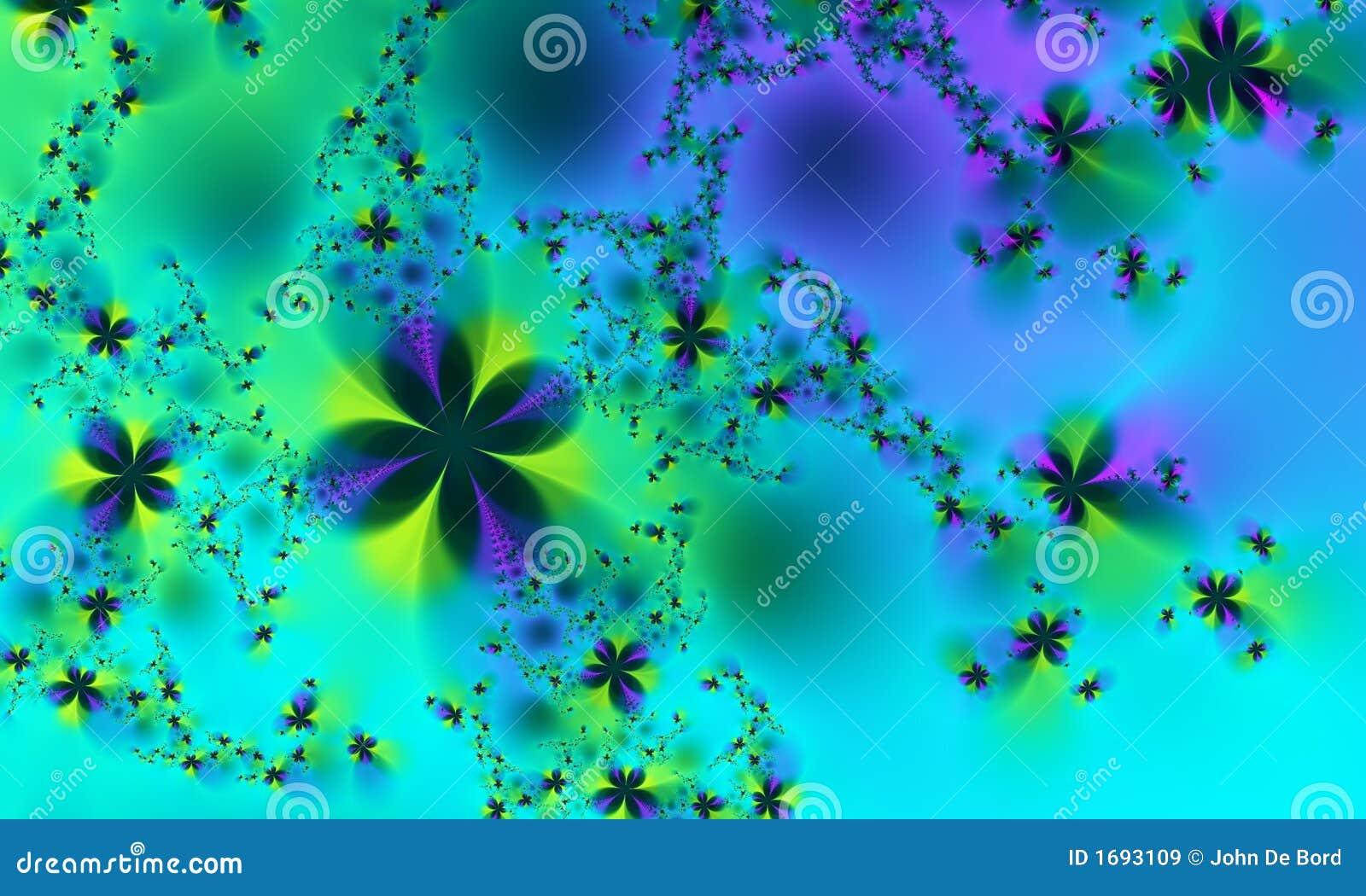 Fiori verdi e blu di frattalo della sorgente illustrazione for Fiori verdi