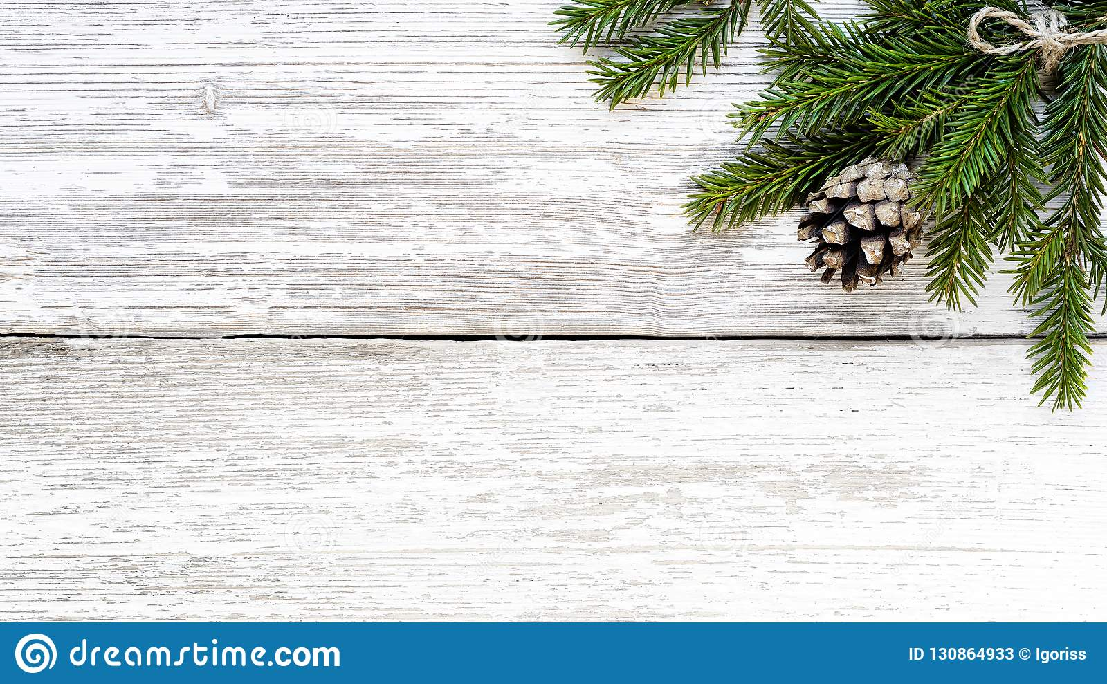 Fir Branch And Pine Cone On White Wood Plank Stock Image