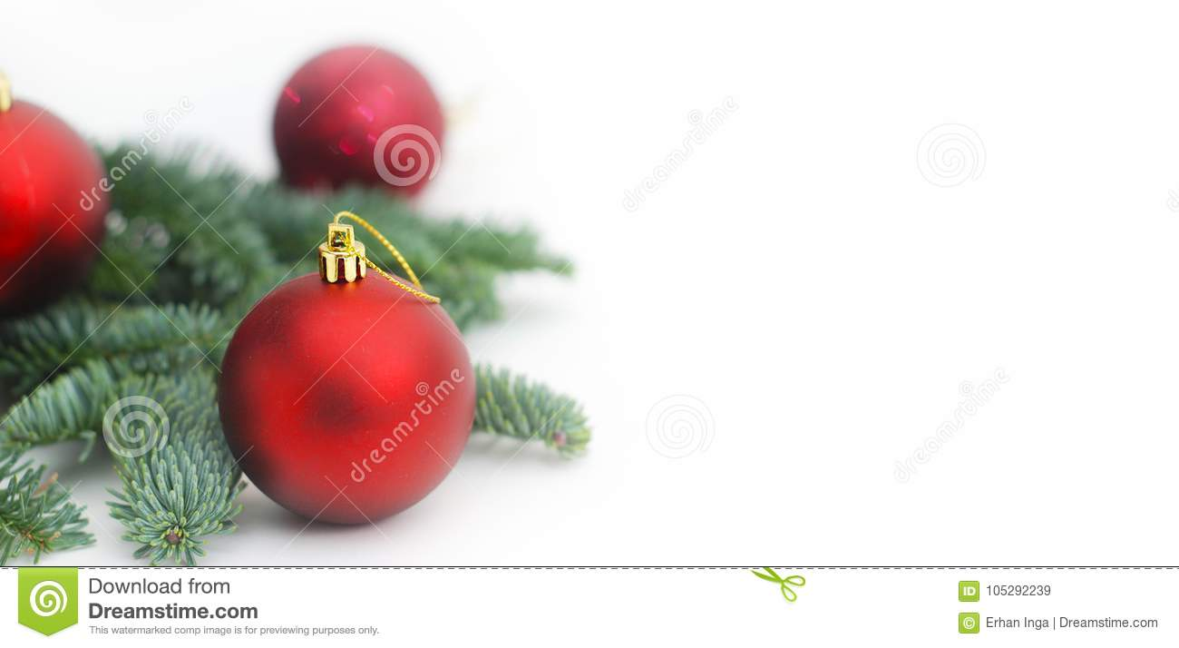 Fir Branches with Christmas Red Tree Balls with Copy Paste. Baner.