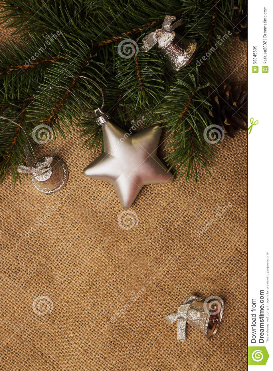 Fir cones christmas decorations and fur tree branch stock for Fir cone christmas tree decorations