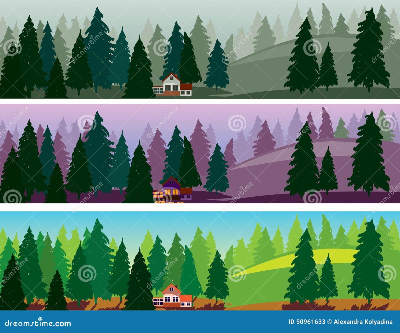 fir forest three banners fog dawn day illustration 50961633