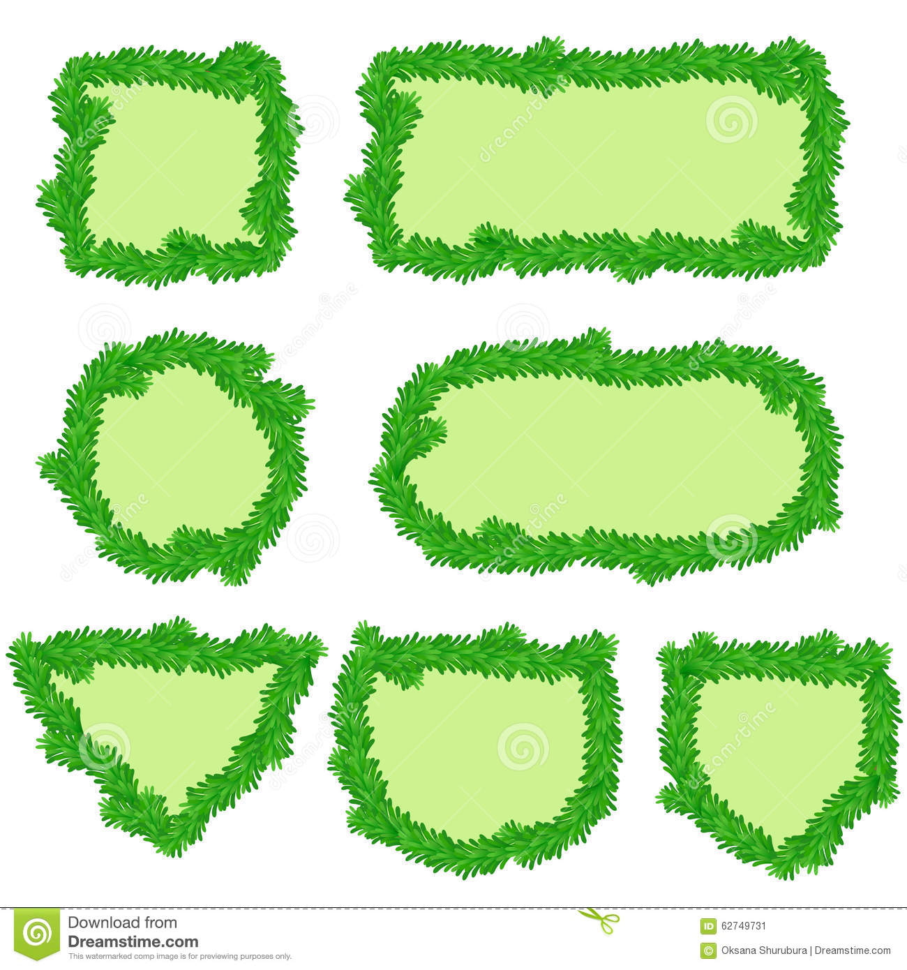 Fir frames in different shapes stock vector image 62749731 fir frames in different shapes jeuxipadfo Images