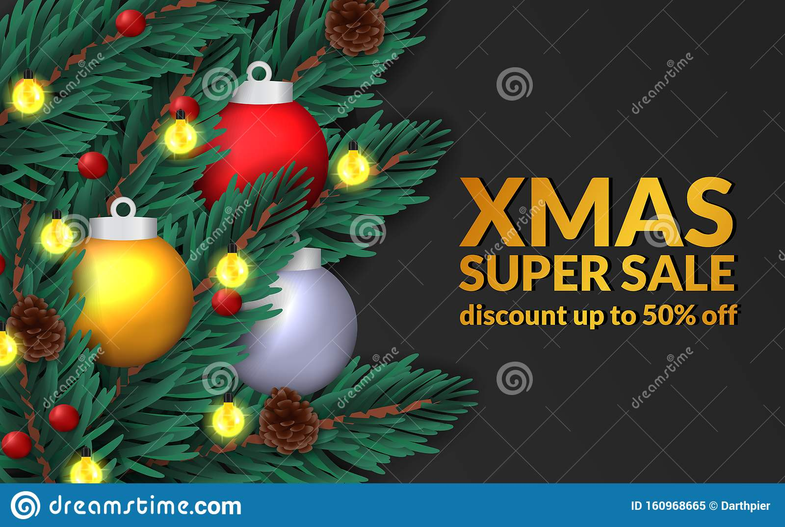 Fir Leaves Garland Decoration Top View With Pine Cone Bauble Ball Sphere Sale Offer Banner Template Stock Vector Illustration Of Border Holiday 160968665