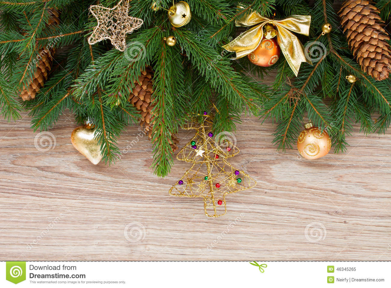 Fir tree border stock photo image 46345265 for Fir cone christmas tree decorations