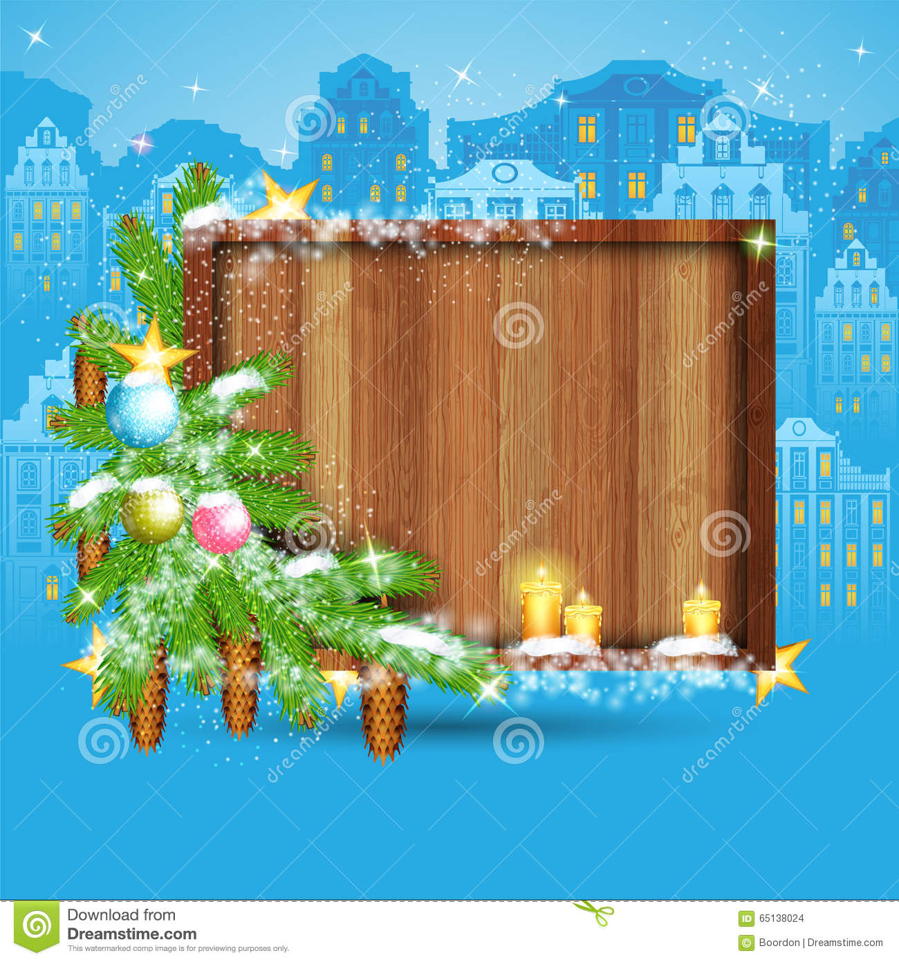 Fir tree branch with stars and candles around square wood border on night old town