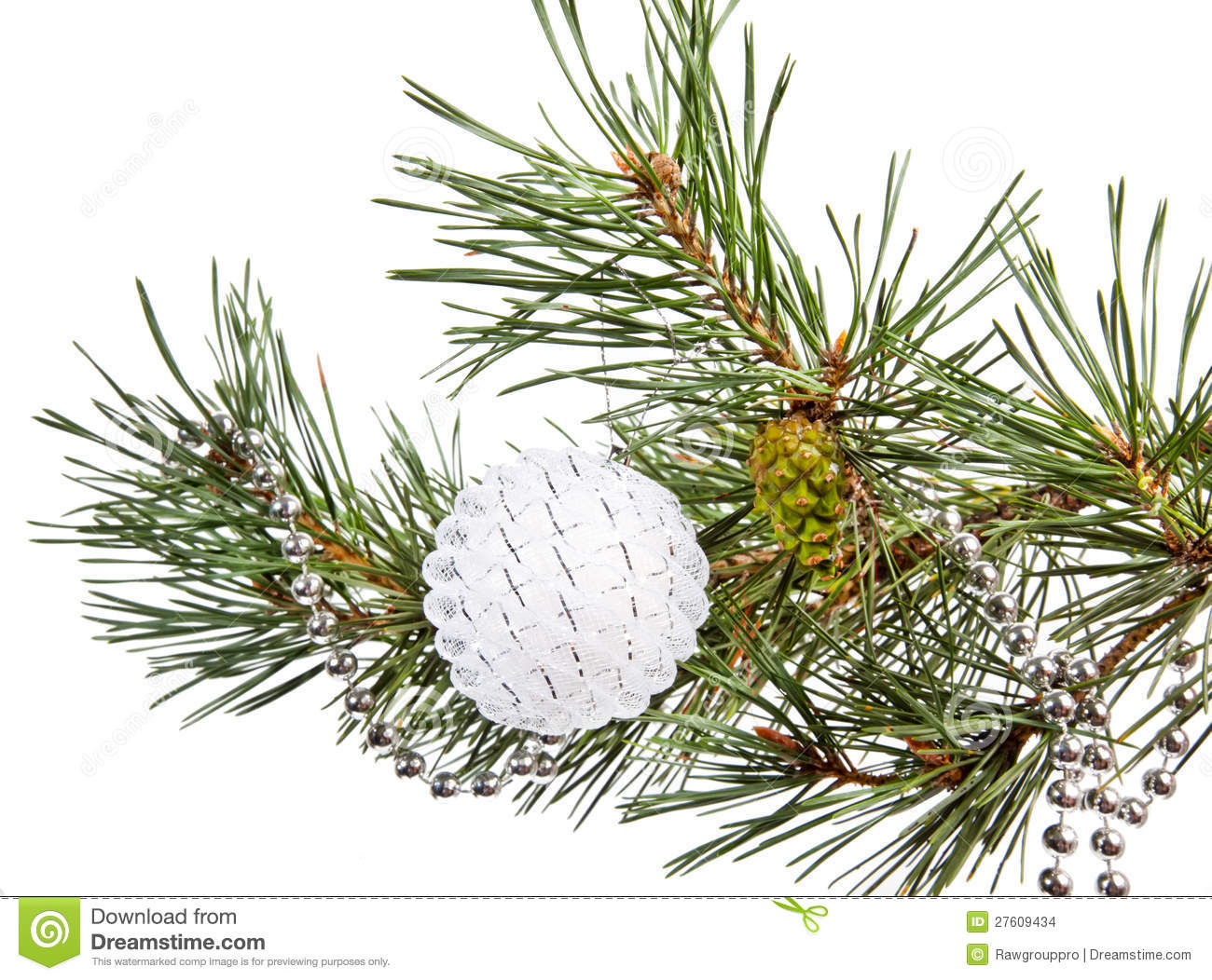 Fir Tree Branch With White Christmas Ball Stock Images ...