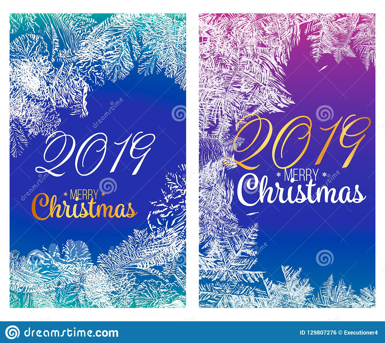 merry christmas glamour background with pine branch and greetings text happy