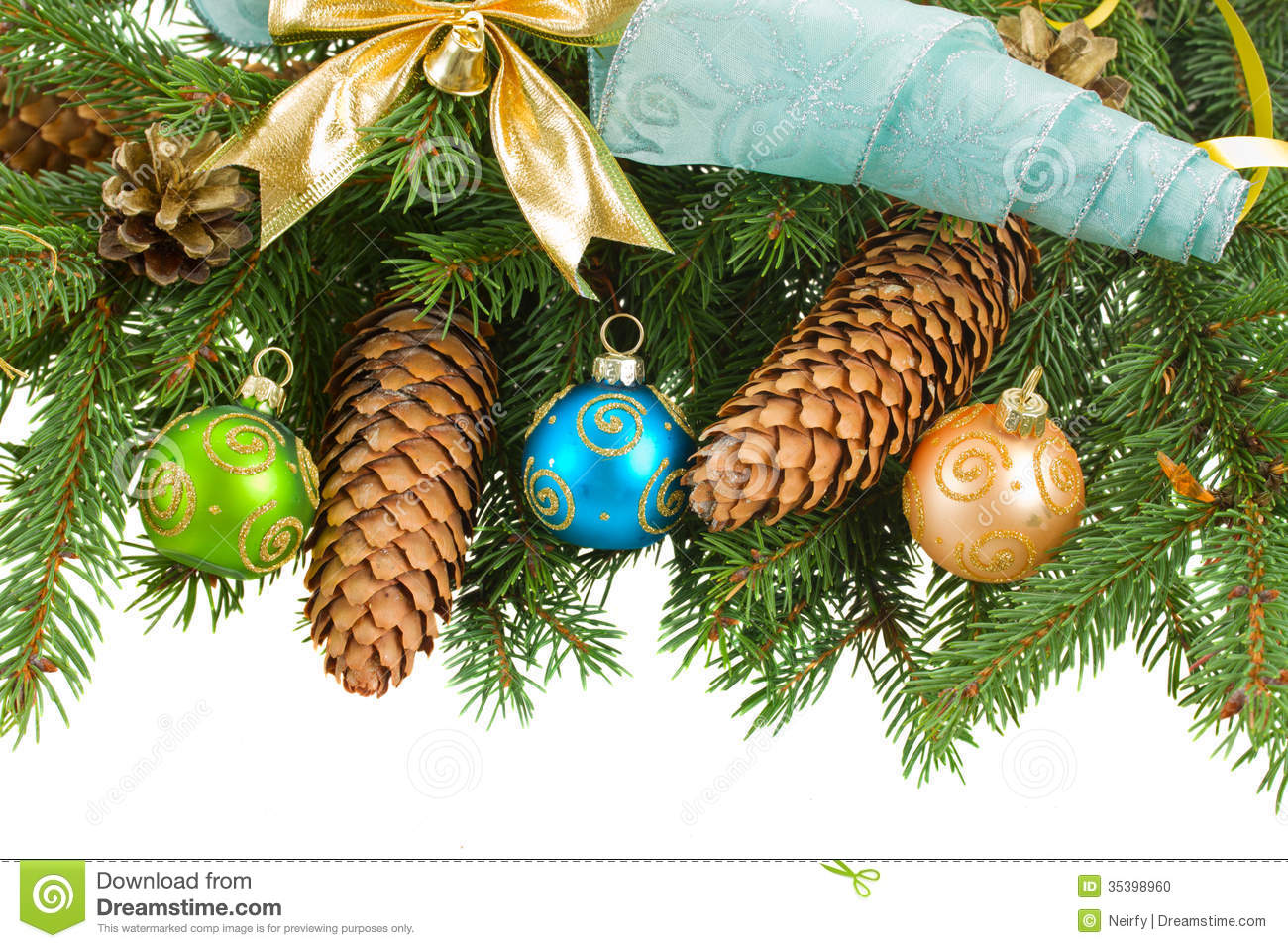 Fir tree with christmas decorations and cones stock photo for Fir cone christmas tree decorations