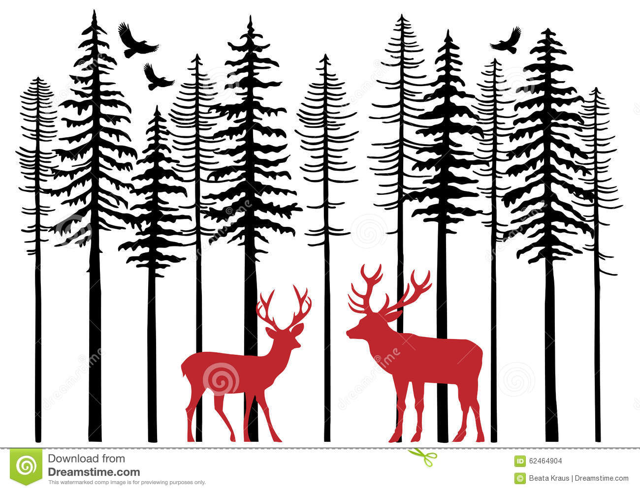 Fir Tree Forest With Reindeer, Vector Stock Vector - Image