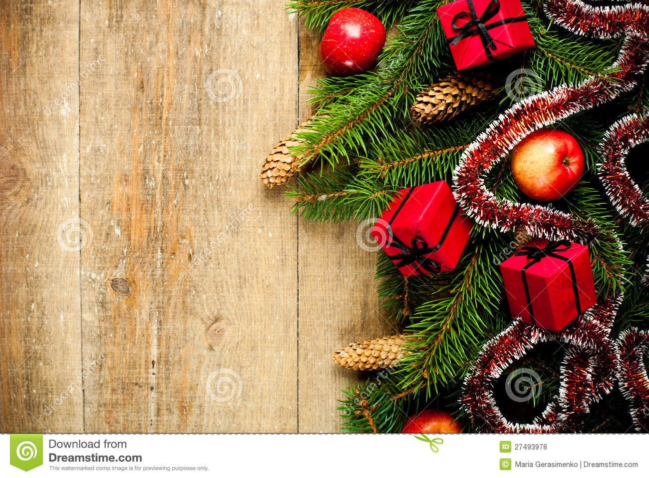 Fir tree with pinecones apples and decorations stock for Apple tree decoration