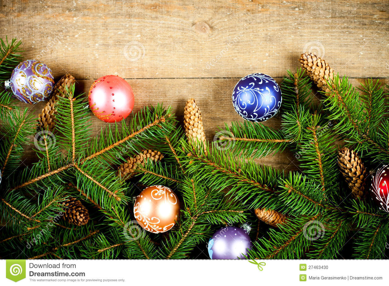 Fir tree with pinecones and decorations stock photo for Fir cone christmas tree decorations