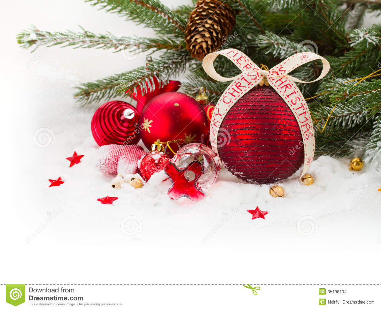 fir tree and red christmas decorations stock images