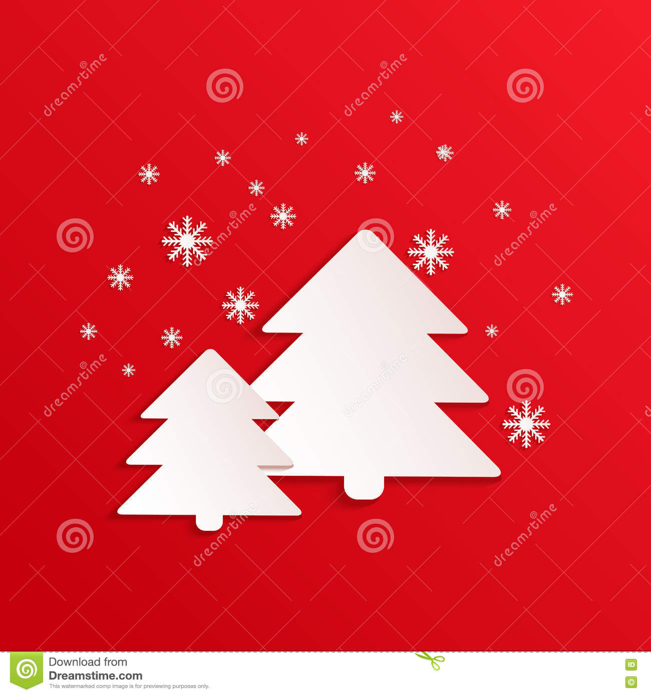 Fir Vector Card With Paper Shapes Winter Background Spruce Simple