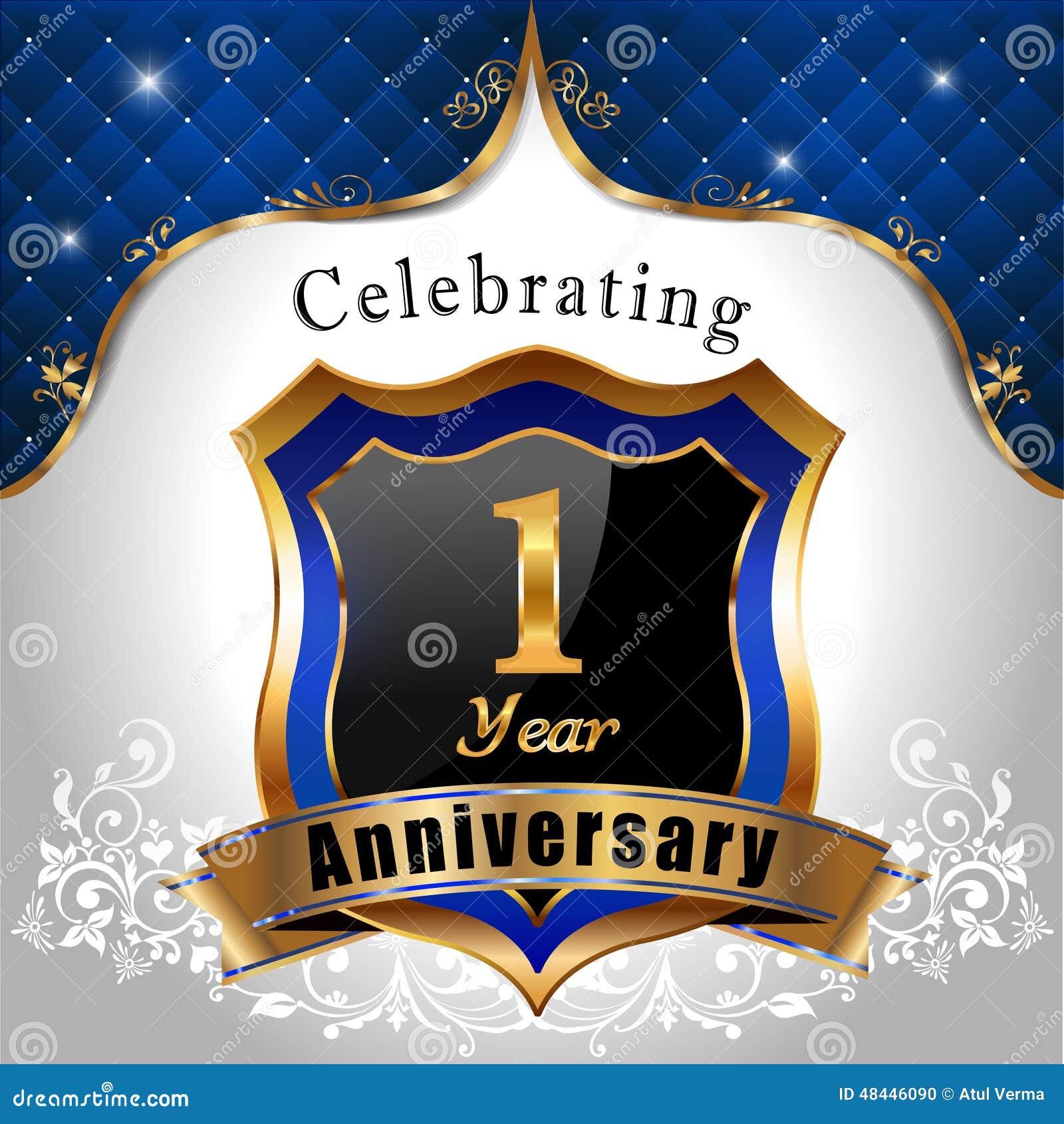 fira 1 års dag Fira 1 år årsdag, Guld  Sköld Med Det Blåa Kungliga Emblemet  fira 1 års dag