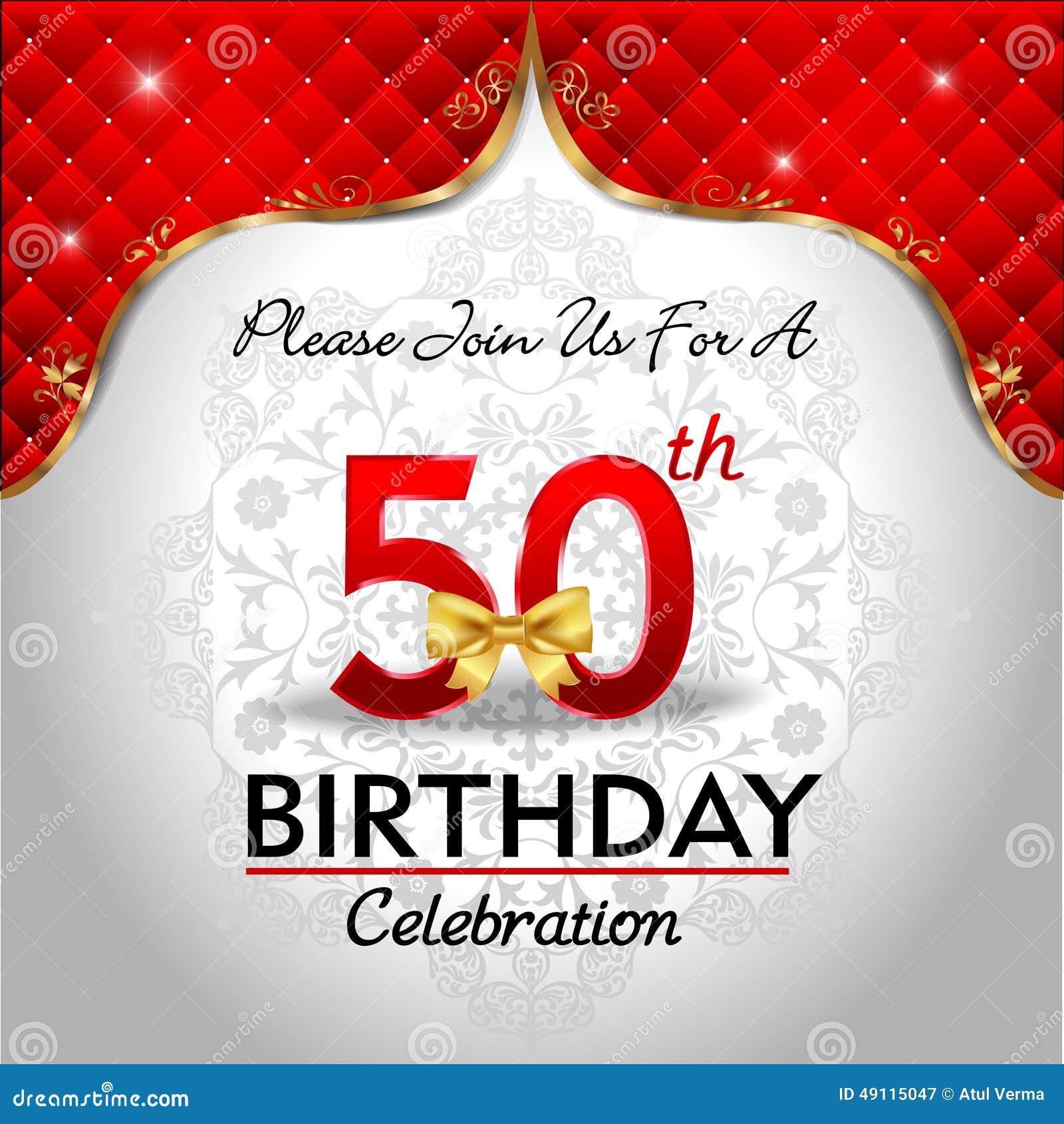 födelsedagskort 50 år gratis Fira 50 år Födelsedag, Guld  Röd Kunglig Bakgrund Vektor  födelsedagskort 50 år gratis