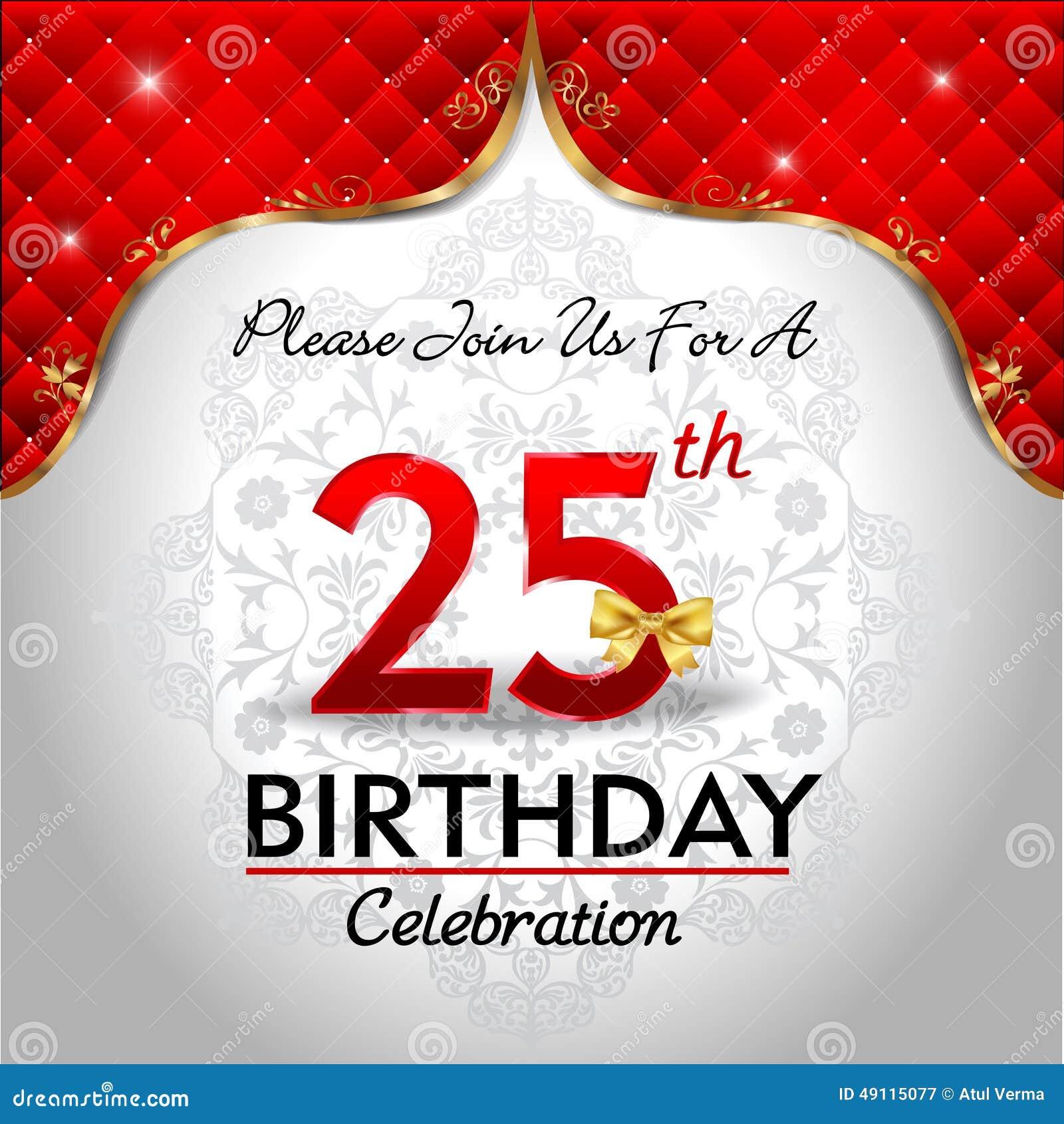 födelsedag 25 år Fira 25 år Födelsedag, Guld  Röd Kunglig Bakgrund Vektor  födelsedag 25 år