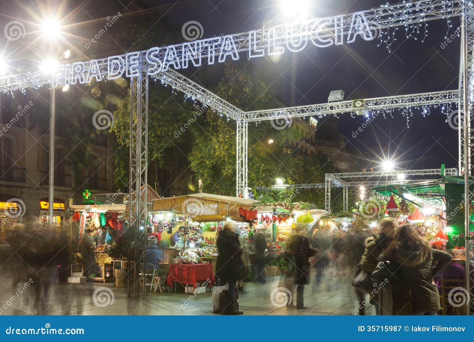 Fira de Santa Llucia - Christmas market near Cathedral. Barcelona