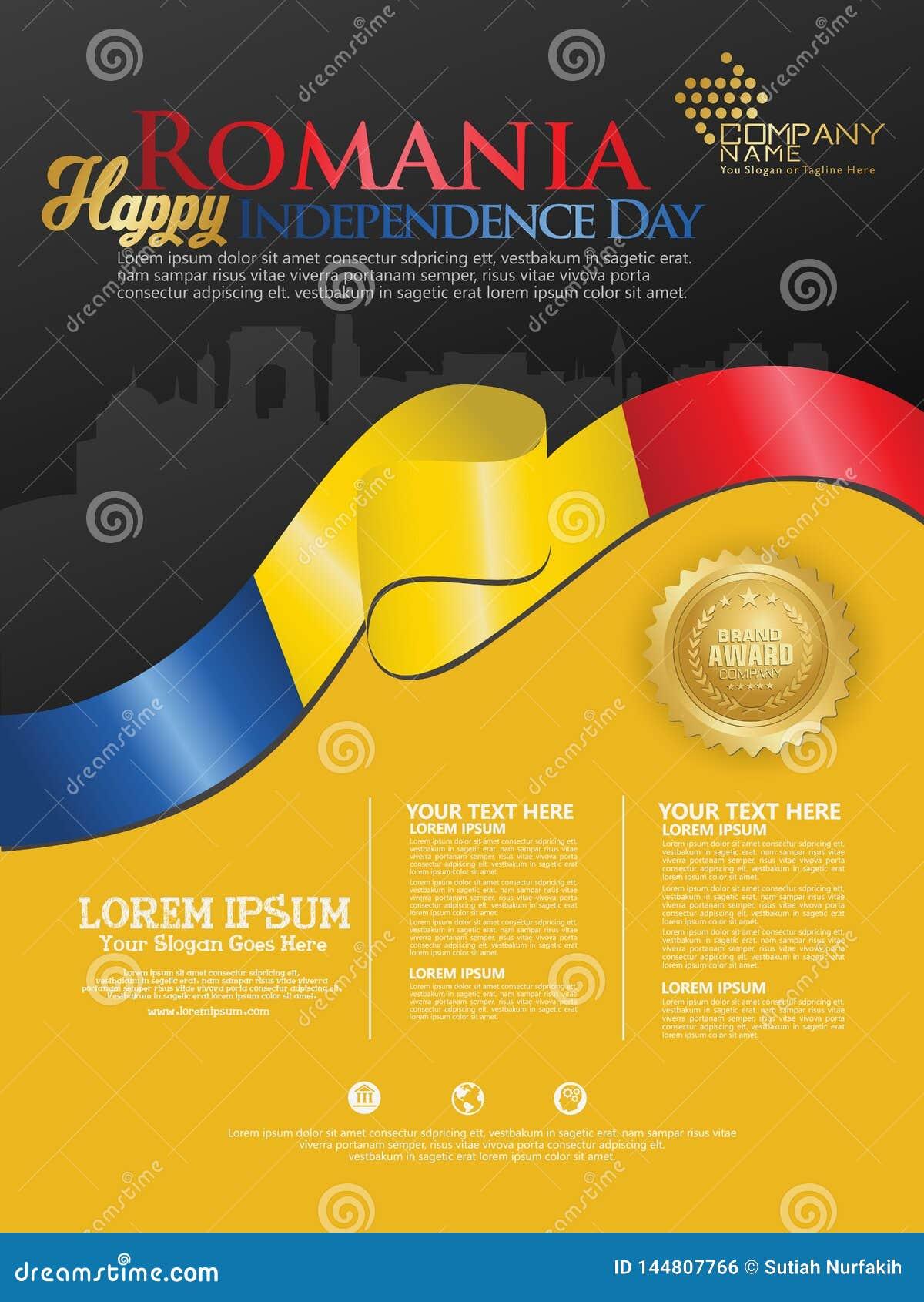 Fira den Rumänien självständighetsdagen Abstrakt vinkande flagga på bakgrundsmall