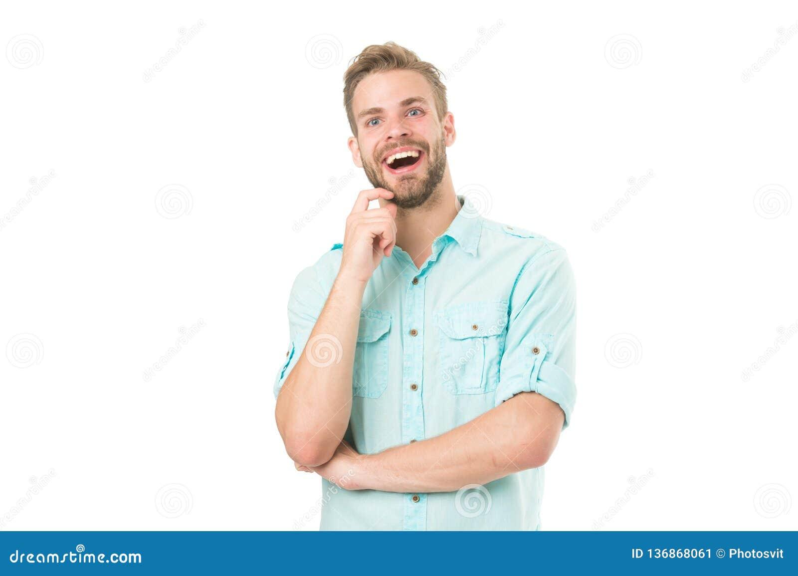Fira det bra resultatet all problemlösning Fyndlösning Man med borstet som ler framsidavitbakgrund grabb