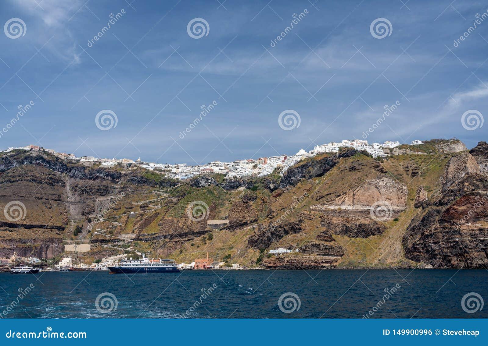 Fira Port On Volcanic Caldera Island Of Santorini Editorial