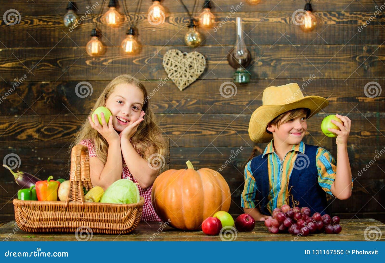 Fira tacksägelsefesten Barn som framlägger skördgrönsakträbakgrund Nya grönsaker för ungeflickapojke